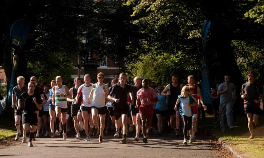 Participants in the 5km parkrun around Hyde Park in Leeds.