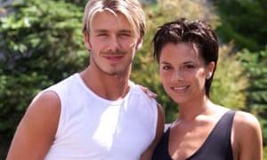 David Beckham and his fiancee Victoria Adams.