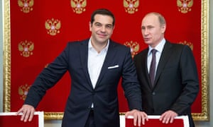 Alexis Tsipras with Vladimir Putin in Moscow.