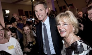 Kristian Thulesen Dahl, the Danish People's Party leader, and former party leader Pia Kjaersgaard arrive at an election party in Snapstinget at Christiansborg in Copenhagen.