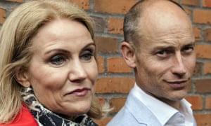 Helle Thorning-Schmidt and her husband, Stephen Kinnock arrive to the polling station at Kildevaeldsskolen in Oesterbro, Copenhagen.