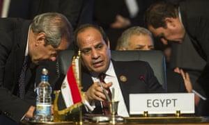 Egypt's President Abdel Fattah al-Sisi (centre)