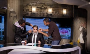 Popular comedian Bassem Youssef before the start of his satirical Egyptian news program, hosted on ONtv.