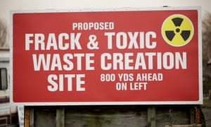 Signs adjacent to a proposed fracking site in Little Plumpton in Lancashire.