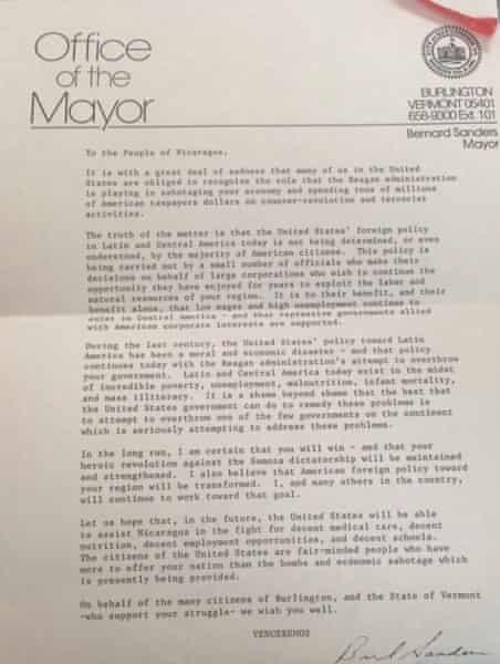 bernie sanders letter people of nicaragua