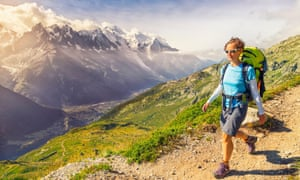 Hiking the trails above Chamonix, with views of Mont Blanc
