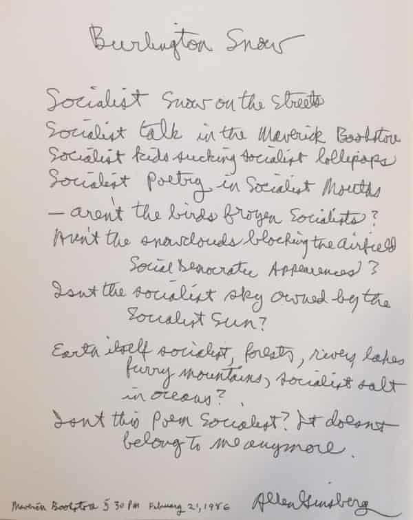 allen ginsberg burlington vermont poem
