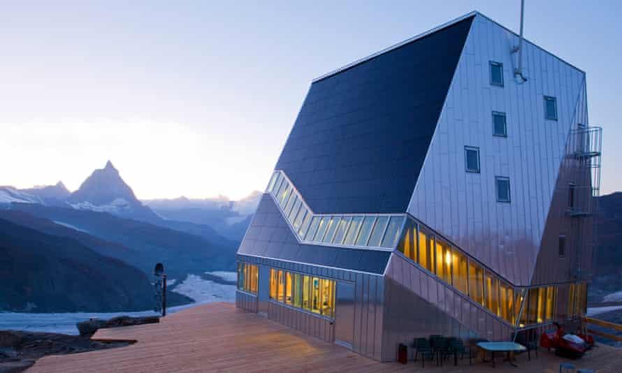 The Monte Rosa Hut of the Swiss Alpine Club.