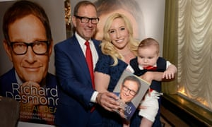 Richard Desmond with wife, Joy, and son, Valentine, at the launch party for his autobiography at Claridge's in London.