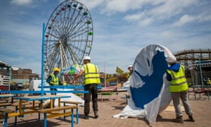 Workers carry out the final stages of construction to Dreamland