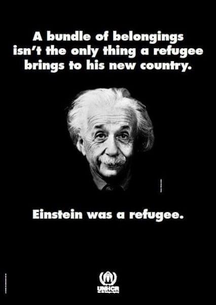 UNHCR poster featuring Einstein