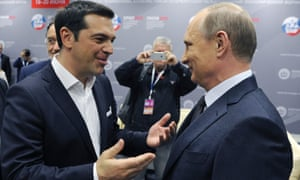Greece's Alexis Tsipras and Russia's Vladimir Putin in St Petersburg.