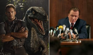 Chris Pratt in Jurassic World and Tim Roth as Sepp Blatter in United Passions