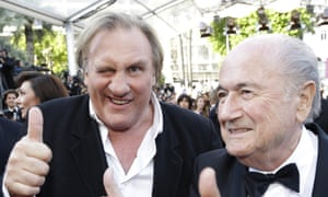 Gerard Depardieu and Sepp Blatter at the Cannes premiere of United Passions, May 2014.