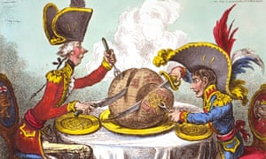 A James Gillray cartoon of 1805 depicts Napoleon and William Pitt the Younger dividing up the world