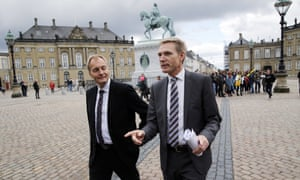 The leader of the Danish People's party, Kristian Thulesen Dahl, and his party colleague Peter Skaarup, left, in Copenhagen.
