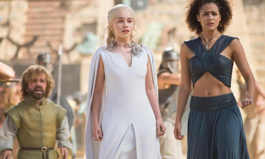 Peter Dinklage as Tyrion , Emilia Clarke as Daenerys and Nathalie Emmanuel as Missandei in Game Of Thrones.