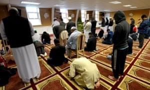 Friday payers at the Jamia Islamia mosque.
