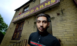 Vix Chumber outside his pub, the Bradford Arms in East Bowling.