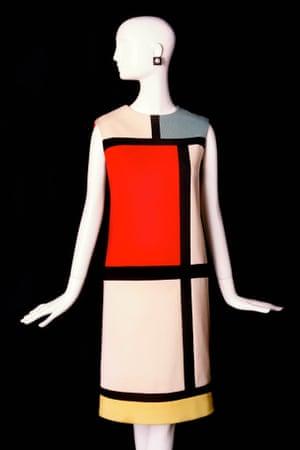 Short cocktail dress. Tribute to Piet Mondrian.  Haute couture collection, Autumn-Winter 1965