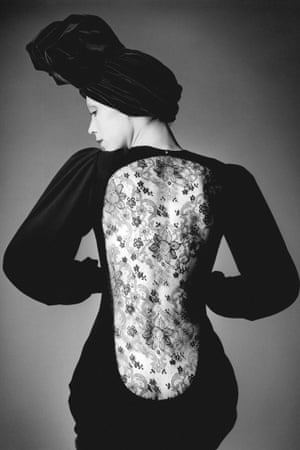 Marina Schiano wearing the short evening dress. Haute couture collection, Autumn-Winter 1970
