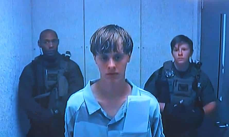 Dylann Roof listens to the bail hearing proceedings via a video link.