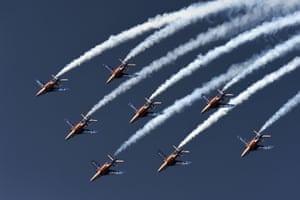 Paris , France The Patrouille de France perform during the first public day of the International Paris Airshow in Le Bourget