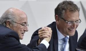 The Fifa president, Sepp Blatter, left, and secretary general Jerome Valcke.