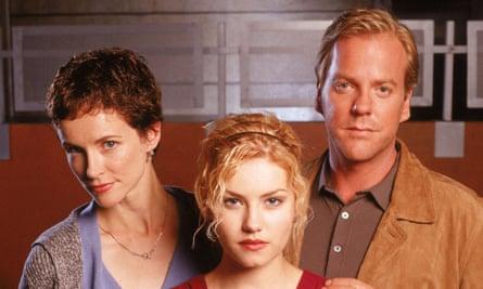 Meet the Bauers… Teri, Kimberly and Jack, aka Leslie Hope, Elisha Cuthbert and Kiefer Sutherland.
