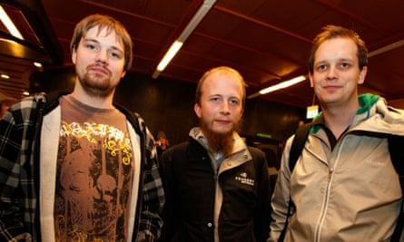 Fredrik Neij (left) with Gottfrid Svartholm Warg and Peter Sunde, Pirate Bay co-founders