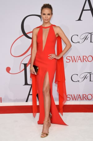 Model Natasha Poly attends the 2015 CFDA awards wearing a dress by Michael Kors.