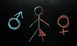 Chalk drawing of man and woman stick figure