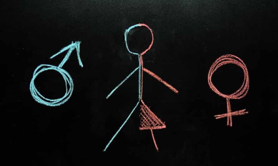 Chalk drawing of man and woman stick figure