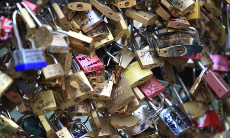 Love locks on the Pont des Arts bridge in Paris