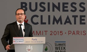 epa04758637 French President Francois Hollande delivers a speech during the 'Business and Climate Summit 2015', at the UNESCO headquarter in Paris, France, 20 May 2015.
