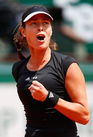 Ana Ivanovic celebrates a point.
