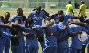 West Indies players prior to a practice session in Roseau, Dominica.