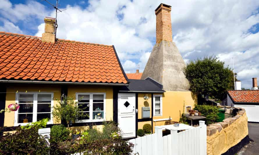 Herring smoke house attached to a cottage on the island of Bornholm, Denmark