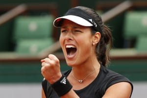 Ana Ivanovic clenches her fist as she wins the match.