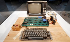 An original Apple computer, now known as the Apple-1, which was designed and hand-built in 1976 by Apple co-founder Steve Wozniak.