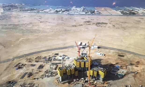 The Kingdom Tower desert construction site in January 2015.