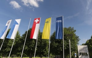 The tranquil scene outside the entrance of Fifa's Zurich headquarters.