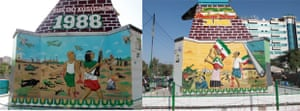 Murals painted on the foundation of Hargeisa's war memorial