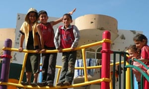 One of the playgrounds that Susan Abulhawa provided the equipment for and which was built locally.