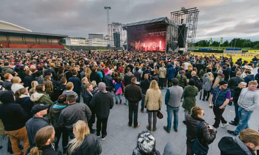 Massive Attack performs live on stage at last year's Secret Solstice music festival in Reykjavik.
