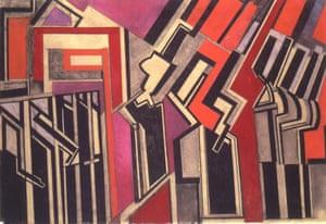 Red Duet (1914) by Wyndham Lewis.