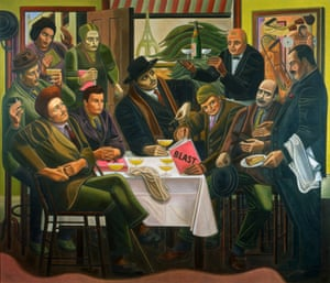 <em>The Vorticists at the Restaurant de la Tour Eiffel: Spring 1915</em> (1961-62) by William Roberts. Roberts depicts himself (seated second form left) between Ezra Pound and Wyndham Lewis, marking the first issue of their magazine Blast.