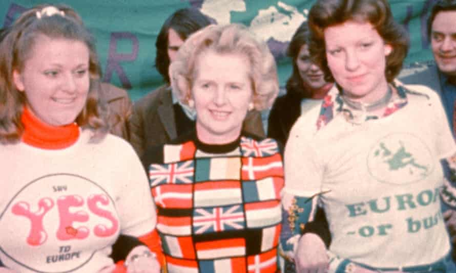 Margaret Thatcher MP, leader of the Conservative Opposition, at a pro-European rally in Parliament Square, before the EEC referendum, 1975.