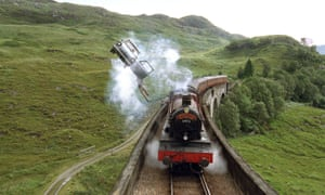 A car chases the Hogwarts Express in the film adaptation of Harry Potter and the Chamber of Secrets.