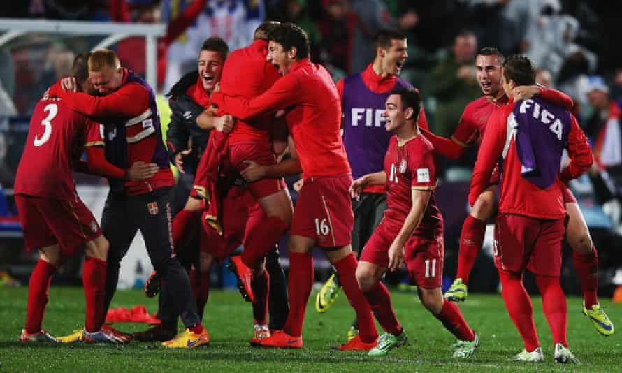 Serbia celebrate after winning the Under-20 World Cup final against Brazil in extra time.